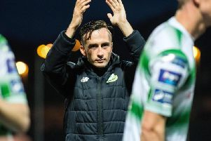 Goalscorer, Aaron McEneff applauds the travelling Rovers support after victory over Derry City at Brandywell.