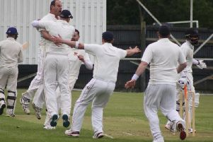 Brigade celebrate the wicket of Bilawal Iqbal at the weekend.