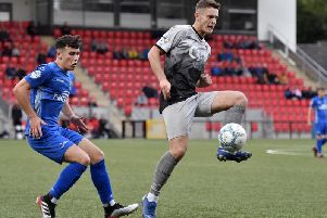 Aaron Jarvis pictured playing for Institute against Dungannon Swifts at Brandywell last month, has made the switch to Coleraine.