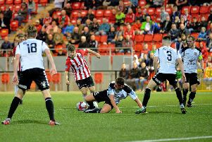 Shane McNamee in action against Bohemians at the Brandywell last season.