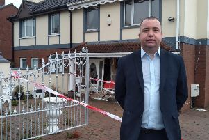 Local SDLP Councillor Brian Tierney at the scene of the incident on Glendale Road last night