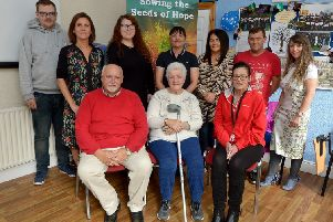 Group pictured at the recent launch of the HURT 'Sowing the Seeds of Hope Programme'. Seated are Dessie Kyle, manager, Annette Coyle and Vivienne Gannon. Standing , from left, Johnny Scanlon, Judith McCann, Community Fund, Stephanie Hill, Peace Bytes,  Natasha Hewlett, Leona Moore, Damien Mullan and Catherine Wells. DER3719GS ' 023