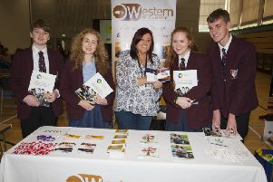 """Foyle College students George Levins, Sasha Porter, Sarah Orr and Fred Glavin pictured during Friday�""""s Derry City and Strabane District Council�""""s Schools Mental Health Awareness event at the Foyle Arena with Bernie Hutton, counsellor, Ascert."""