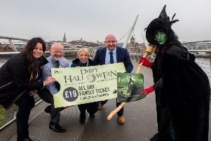 Launching Translink's partnership with Derry City and Strabane District Council for the 2019 Derry Halloween celebrations on the city's Peace Bridge are, from left DCSDC Festival and Events Manager Jacqueline Whoriskey, Translink Service Delivery Manager Alan Young, Translink Senior Marketing Officer Diane McCourt, Northern Ireland Railways Assistant Route Manager, North, Mark Montgomery and Winifred the Witch.