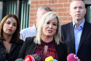 Michelle O'Neill, deputy president of Sinn Fein pictured with M.P.s Elisha McCallion and Chris Hazzard. (Photo: P.A. Wire)