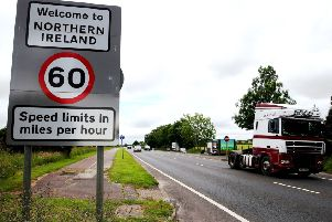 Crossing the border in the village of Bridgend, Co Donegal. (Brian Lawless/PA Wire)