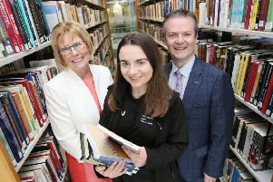 """Janet Peden, University Librarian & Deputy Chief Digital and Information Officer, Collette Cassidy, VP, Magee Students' Union, and Dr Malachy """" N�ill, Provost of the Magee campus."""