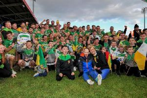 Foreglen players and supporters celebrate their Intermediate Championship victory in Celtic Park.