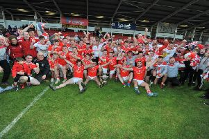 Magherafelt celebrate their Derry Senior Football Championship win over Glen in Celtic Park on Sunday afternoon. DER4319GS  020