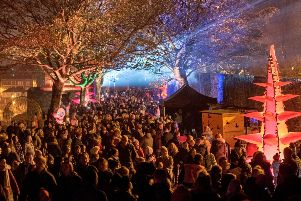 Some of the thousands of people who enjoyed the installations and performers during the first night of the Awakening of the cit's 400 years old Walls last year. Picture Martin McKeown. Inpresspics.com. 28.10.18