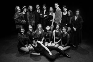 Back: Molly Duffy (Ensemble), Conan Hamilton (Ensemble), Aimee McMenamin (Mama Morton), Warren McCook (Billy Flynn), R�ana Lynch (Velma), Ashton Murphy (Roxie), Daniel McCafferty (Amos), Ben McGinn (Ensemble), Lia-Della Friel (Ensemble), Danielle McElroy (Mary Sunshine), (L-R Front row) Tori Messenger (Merry Murderess), Anna McCormack (Ensemble), Faye Deering (Merry Murderess), Rachel Harley (Merry Murderess), Siobhan McParland (Merry Murderess), Ezra Orr (Merry Murderess), and (front) Aodhan Kehoe (Ensemble).
