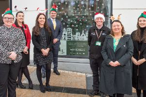 The Mayor, Councillor Michaela Boyle pictured at the launch of the 2019 City Centre Initiative's annual Christmas Windows competition with Lorraine Allen, CCI,  Arlene Donnelly, City Hotel, Taleesha Clarke and Paul Truscott,  Maldron Hotel,  Dermott McCrossan, City Centre Ranger and Lucia McCurley, CCI. Picture Martin McKeown.