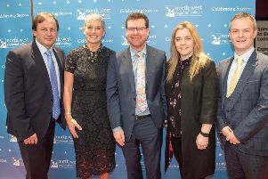 North West Regional College Principal and Chief Executive Leo Murphy, (left) pictured previously at the college's Higher Education graduation ceremony with special guest Hannah Shields, Chair NWRC Board of Governors, Gerard Finnegan, Ulster University's  Department Head of International Business at Magee College,  Dr Lisa Bradley, and Provost of Ulster University's Magee Campus Malachy O'Neill.