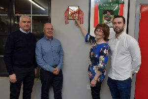 Margaret King, mother of the late Kevin King, officially opens the KK Fitness Suite at Slaughtmanus GAC on Friday evening last. Included in the photograph are Kevin Watson, Club Chairman, Kevins dad John and his brother Martin. DER4519GS - 037