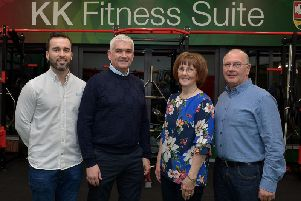 Kevin's brother, Martin King, Kevin Watson, Chairman, Slaughtmanus GAC and Kevin's parents, Margaret and John King, pictured at the blessing and official opening of the KK Fitness Suite at Slaughtmanus GAC on Friday evening last. DER4519GS - 032
