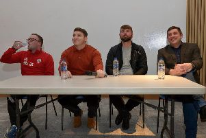 Derry City manager, Declan Devine, assistant boss, Kevin Deery and first team and Academy coach, Paddy McCourt alongside women's coach Kevin Tyre address the attendance at Monday night's Derry City FC Review of the Season event in Magee University.