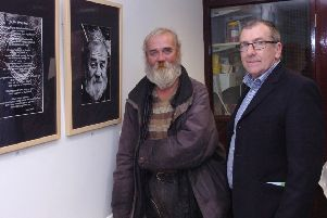 Michael Taylor pictured with Jimmy Brolly who was one of the people photographed for his photographic exhibition 'Colourful Characters' and who contributed a poem at Pilots Row back in 2012. (2310PG37)