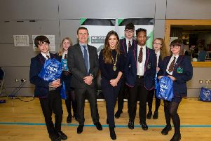 Deputy Mayor of Derry City and Strabane District Council, Councillor Cara Hunter with Oakgrove pupils and Stephen McDonagh, Head of Careers, at the information event in Foyle Arena.