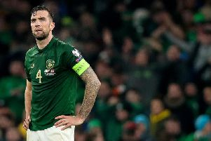 Shane Duffy is dejected at the final whistle as Ireland failed to get the win to send them to Euro 2020.