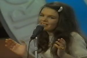 Dana performing at the Eurovision Song Contest in Amsterdam in 1970.