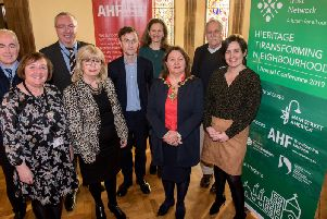 Mayor of Derry City and Strabane District, Councillor Michaela Boyle pictured with Manus Deery, Department for Communities, Historic Environment Division, Margaret Edwards DCSDC, Tony Monaghan, DCSDC, Helen Quigley, Inner City Buildings Preservation Trust, Matthew McKeague, Architectural Heritage Fund, Patrice Frey, Main Street America, Ed McMahon, Moan Street America and Liz Bates National Chair, Heritage Trust Network.