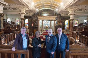 Giovanni Doran, Chair of Aras Cholmcille Trust, Maricarmen Guevera, Charles Hett and Ivor Doherty, pictured at Long Tower Church.