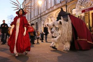 The Snow Lion and the White Queen who will be performing at the Winterland Markets in Guildhall Square.