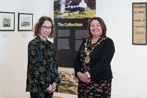 Derry City & Strabane District Council Mayor Michaela Boyle pictured alongside Bernadette Walsh, Archivist for the Tower Museum, at the launch of The Collection in The Alley Theatre.