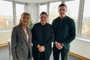 Sinn F�in's Martina Anderson in her role as Honourary President of Sean Dolan's GAC and Sean Dolan's Senior Captain and Committee Member Eamon McGinley meeting with Minister for Communities Deirdre Hargey MLA.