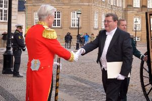 Derry's former man in Moscow, Adrian McDaid, moves to Copenhagen and is greeted by Margrethe II of Denmark as new Irish Ambassador