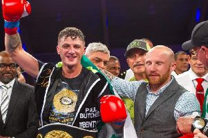 Derry middleweight, Connor Coyle, pictured with fellow ex-St Joseph's ABC clubman, John Cooley after a recent victory, will look for his 12th straight win in Washington on Friday morning.