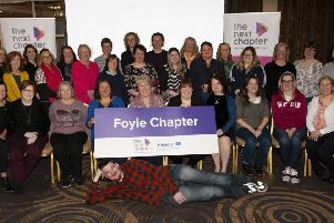 THE NEXT CHAPTER. . . .The Mayor of Derry City and Strabane District Council, Michaela Boyle pictured with organisers, participants and delegates at the ��Caring For Carers (Foyle Next Chapter Community Project) at the White Horse Hotel on Wednesday afternoon.  (Photos: Jim McCafferty Photography)