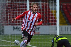 New Derry City signing, Tim Nilsen celebrates his second goal against Finn Harps at Brandywell.