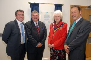 At the opening of the restored Old Town Hall are Joe Quail, Traders Association, Councillor John Hanna, Council chairman Councillor Mrs Joan Baird, and John Dobson,  Banbridge Community Regeneration Committee. INBL24-OTH4