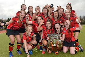 The celebrations begin as Banbridge Academy finally win the Ulster Senior Schoolgirls' Cup for the first time. Pic: Rowland White / PressEye