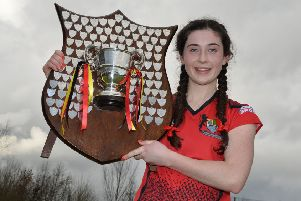 Orla Thompson becomes the first Banbridge Academy captain to get her hands on the Ulster Senior Schoolgirls' Cup. Pics: Presseye.