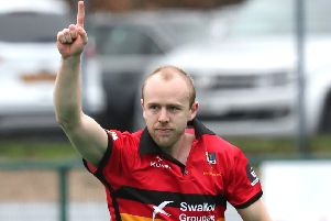 Eugene Magee netted in both of Banbridge's games at the weekend. Photograph by Declan Roughan