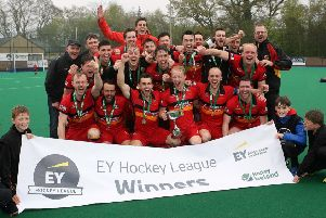 Celebrations begin as Banbridge are crowned EY Hockey League Champions. Photo by Freddie Parkinson / Press Eye
