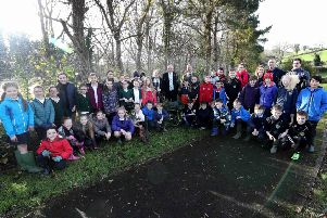 Pictured at the recent biodiversity project in Lagan Park, Dromara are representatives of Dromara Primary School, St Michael's Primary Shool and Finnis & Dromara Youth with Alderman James Tinsley, Chairman of the council's Leisure & Community Development Committee and Councillor Uel Mackin.