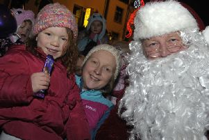 Santa Claus arrives for the Lights Switch-on