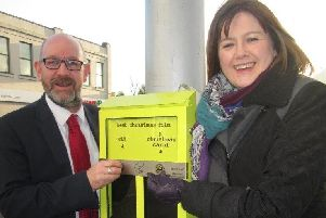 Barry Patience, Head of Department: Environmental Services, with Gillian'Topping, Head of Department: Environmental Health, pictured at one of the newly installed 'ballot bins'.