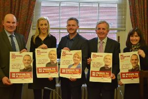 Roy Beggs MLA, Carla Lockhart MLA, Robbie Butler MLA, Gerry McElwee from Cancer Focus NI and Paula Bradshaw MLA.