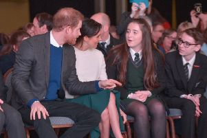 """Visiting Belfast city centre during their first visit to Northern Ireland on 23 March 2018, Prince Harry and Ms. Markle Markle begin their first visit to Northern Ireland at the Eikon Centre at an event celebrating the youth-led peace-building initiative ��Amazing the Space�"""" and showcasing groundbreaking cross community and reconciliation work from young people across Northern Ireland.  Launched by Prince Harry in September 2017, ��Amazing the Space�"""" empowers young people across Northern Ireland to become ambassadors for peace within their communities.  Photo by Aaron McCracken"""