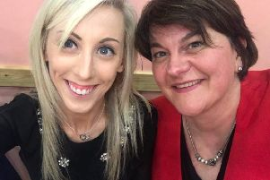 The picture posted on Twitter by Arlene Foster (right) from Friday evening