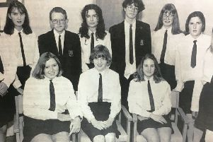 Banbridge Academy prizewinners pictured in 1992 - Barbara Crothers, Lyhnn McConkey, David McKnight, Katherine Menown, Susan Taylor, Jennifer Heak, Julianne Jennett, Ashlea Preston, Sarah Ross, David Winters and Riann Coulter.