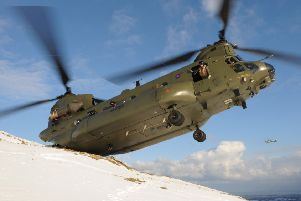 An Army Chinook similar to the one that crashed on the Mull of Kintrye in 1994 with the death of all 29 people on board