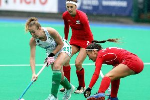 Sarah Hawkshaw in action during the semi-final against Czech Republic