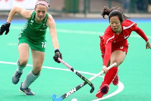 Ireland's Bethany Barr in action against Singapore during the FIH Series Finals