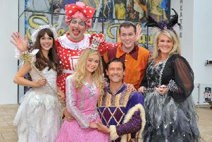 Cast of Sleeping Beauty at Grove Theatre, Dunstable: from left, back, Rebecca Keatley (Fairy Moonbeam), Will Kenning (Nurse Nellie), Ian Jones (Jangles) and Sally Lindsay (Carabosse); front from left, Jemma Carlisle (Sleeping Beauty) and John Partridge (Prince Charming). Picture by Paul Clapp, Limelight Studios
