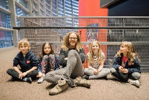 Tim Minchin with the four actresses playing Matilda
